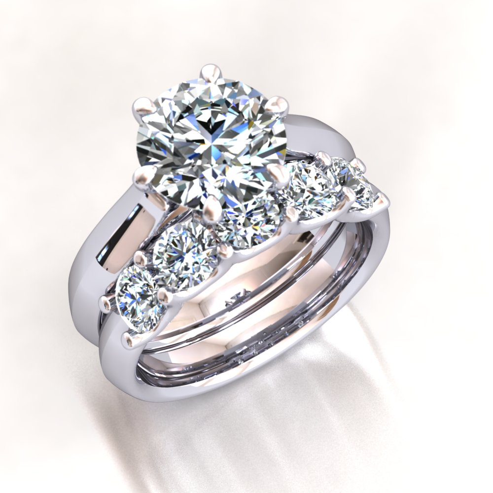 Knife Edge Engagement Ring Modern Six Prong Talon Prong Shared Prong Wedding Band Platinum.jpg