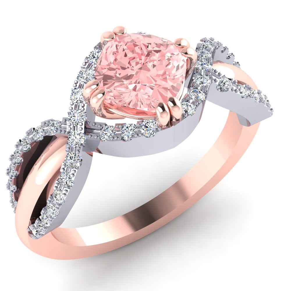 Morganite Diamond Rose Gold Ring Unique Halo Modern.jpg