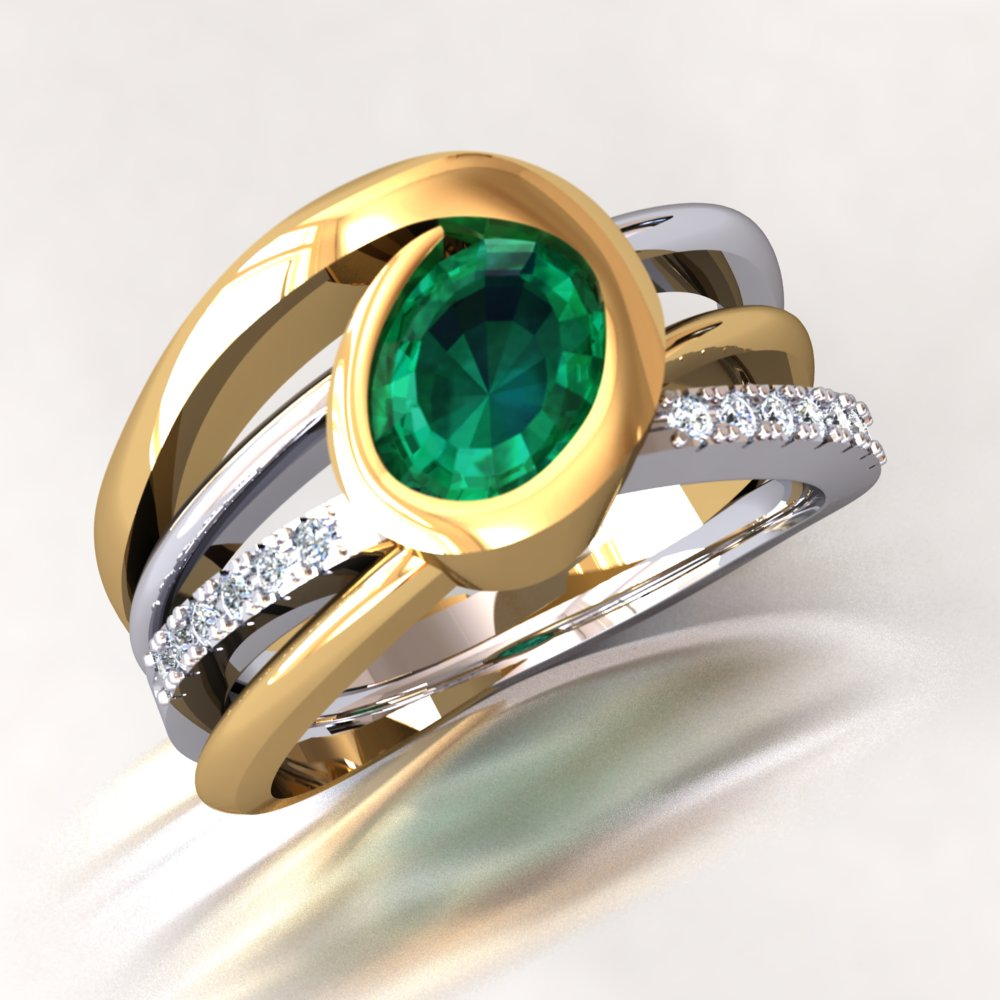 Oval Shaped Emerald Two Tone Ring Yellow White Gold With Pave Set Diamonds Multi Band.jpg