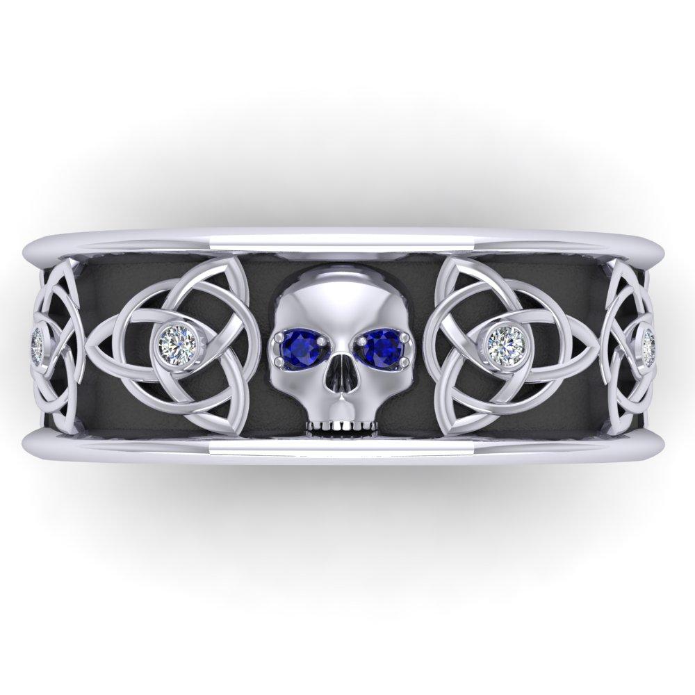 Men's Skull Wedding Ring Sapphire Eyes Diamond Celtic Knot.jpg