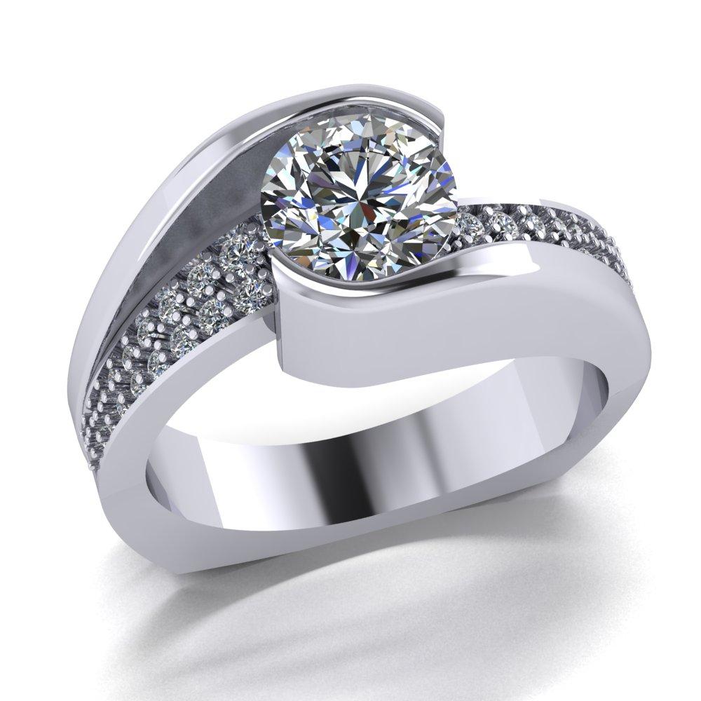 Low profile modern semi bezel set diamond engagement ring with pave set small diamonds.jpg