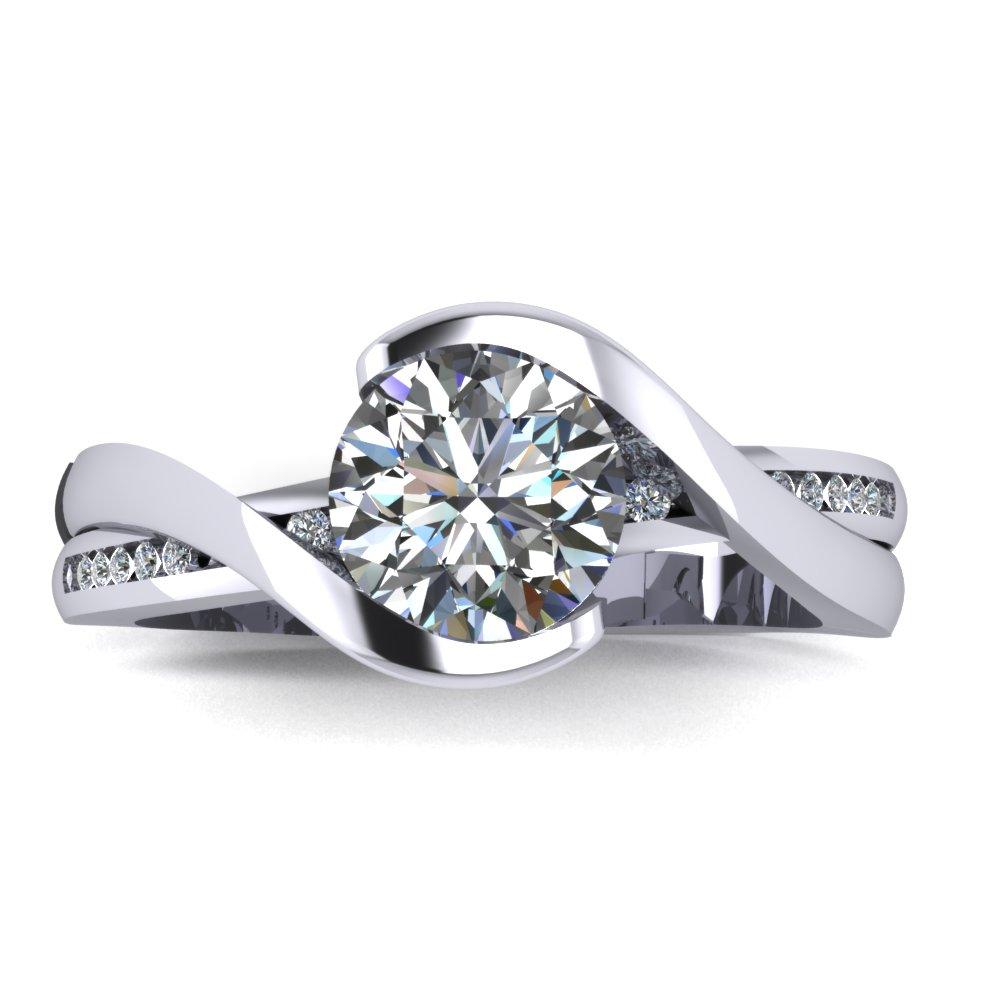 Modern engagement ring with round center diamond set into a semibezel swirl.jpg