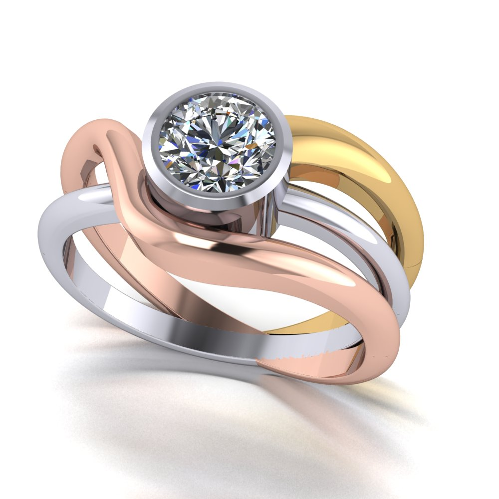 Modern open flowing tri color gold engagement ring.jpg