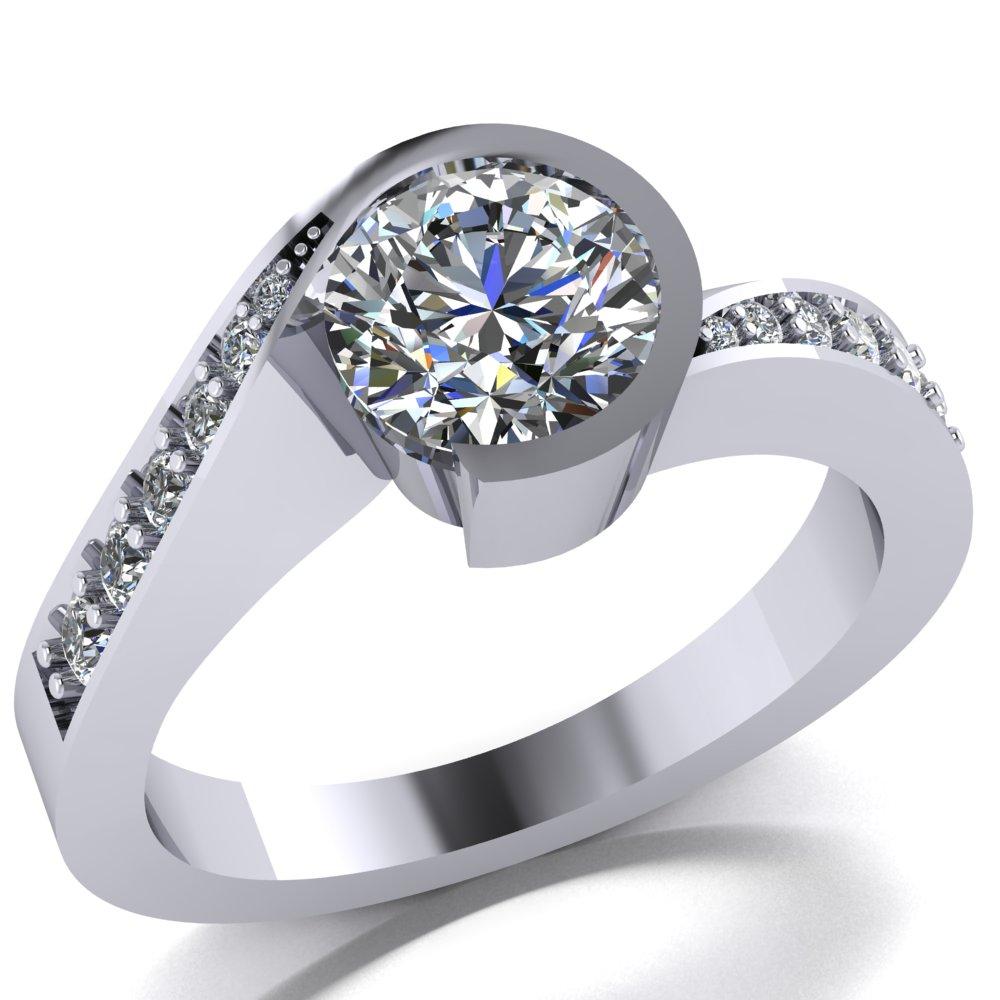 modern swirl semi bezel set engagement ring with pave set side diamonds.jpg