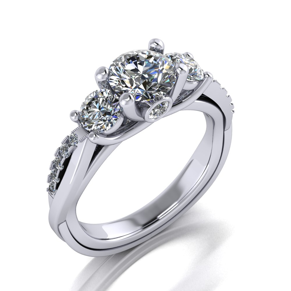 Modern Twist Engagement Ring Pave Milgrain White Gold Round Brilliant Three Stone.jpg