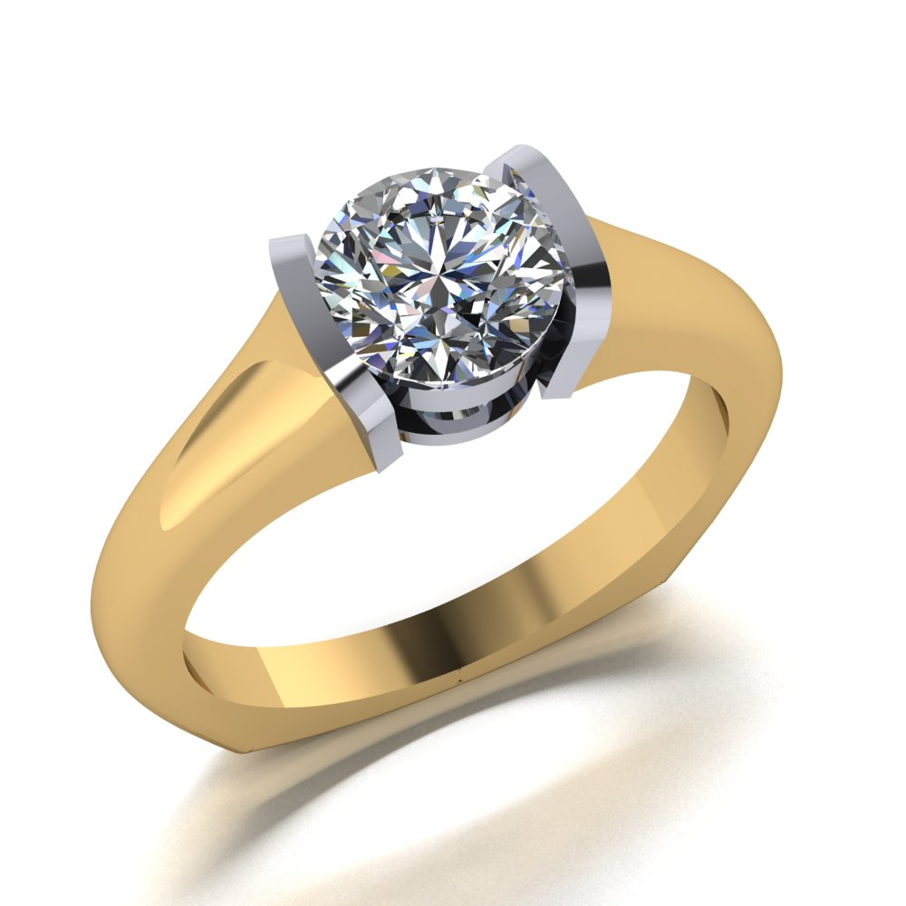 SIMPLE SOLITAIRE LOW PROFILE SEMI BEZEL SET ENGAGEMENT RING.jpg