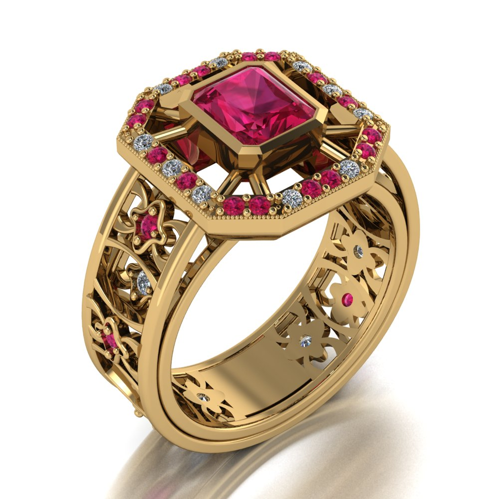 comptemporary modern with vintage twist ruby and diamond ring yellow gold.jpg