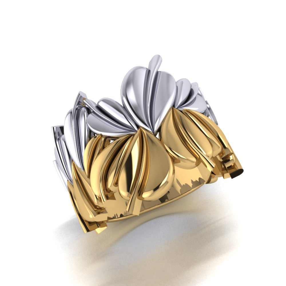 Unique ladies two tone yellow and white gold leaf ring.jpg