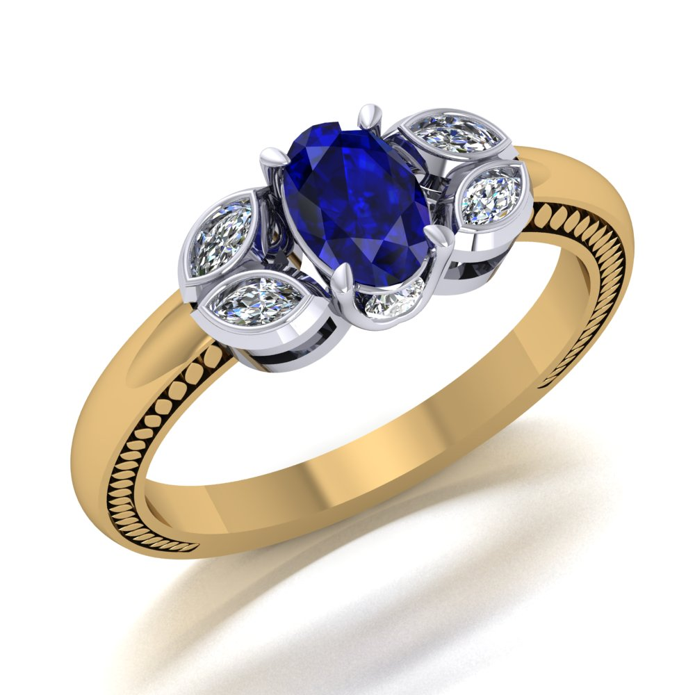 Sapphire Engagement Ring Marquise Diamond Accents Yellow White Gold Filigree Engraving.jpg