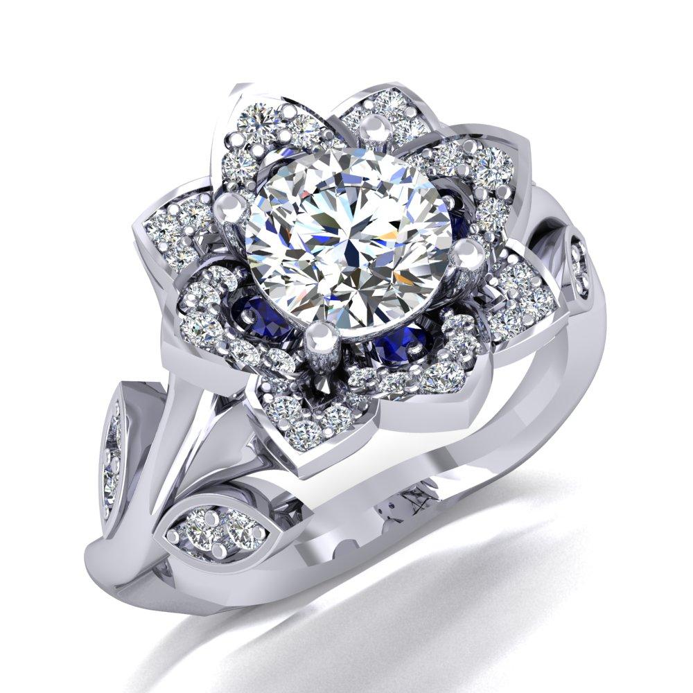 Flower Engagement Ring White Gold Vine Sapphire Accents Round Brilliant Cut.jpg