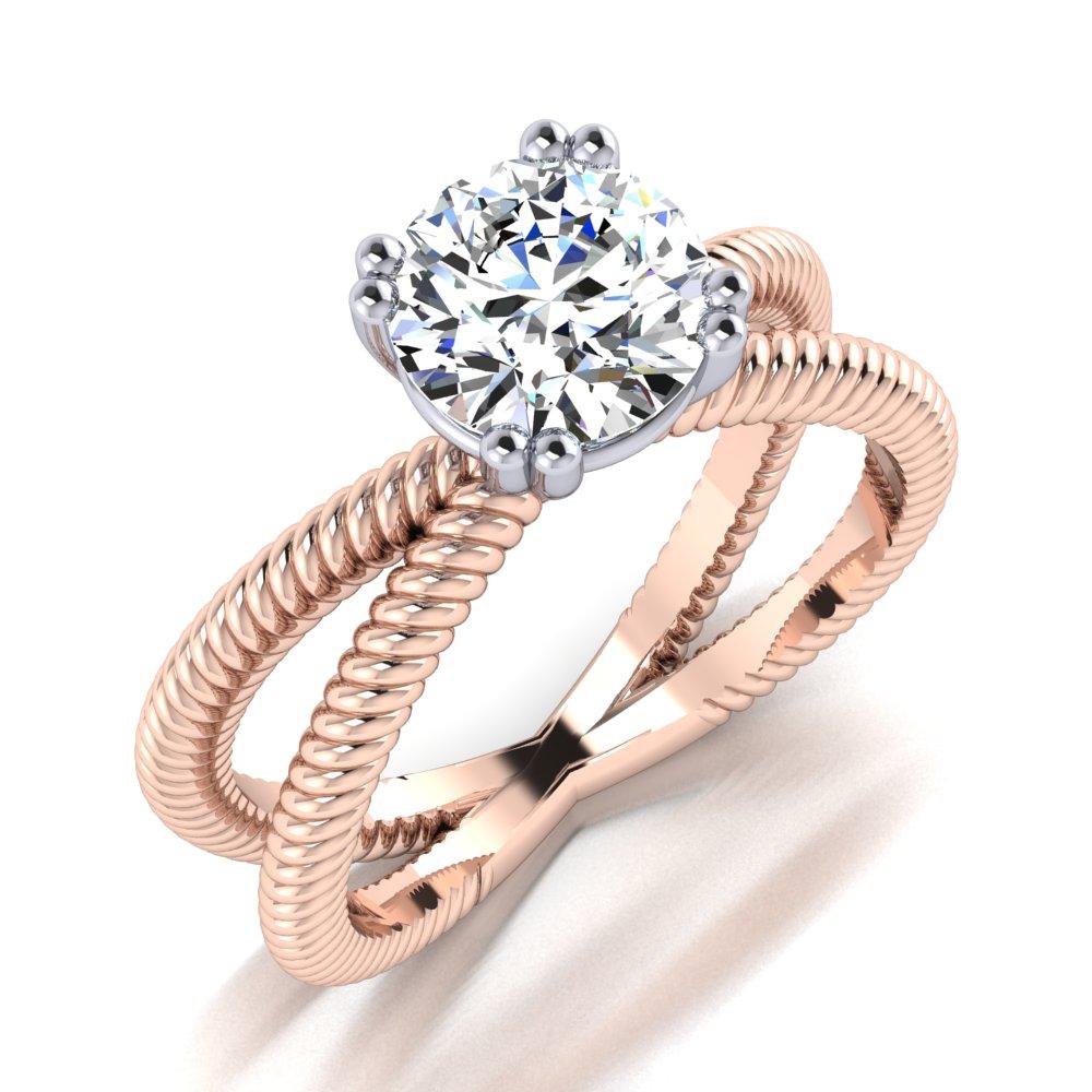 Rose Gold Rope Split Shank Round Diamond Modern Engagement Ring 1 Carat.jpg