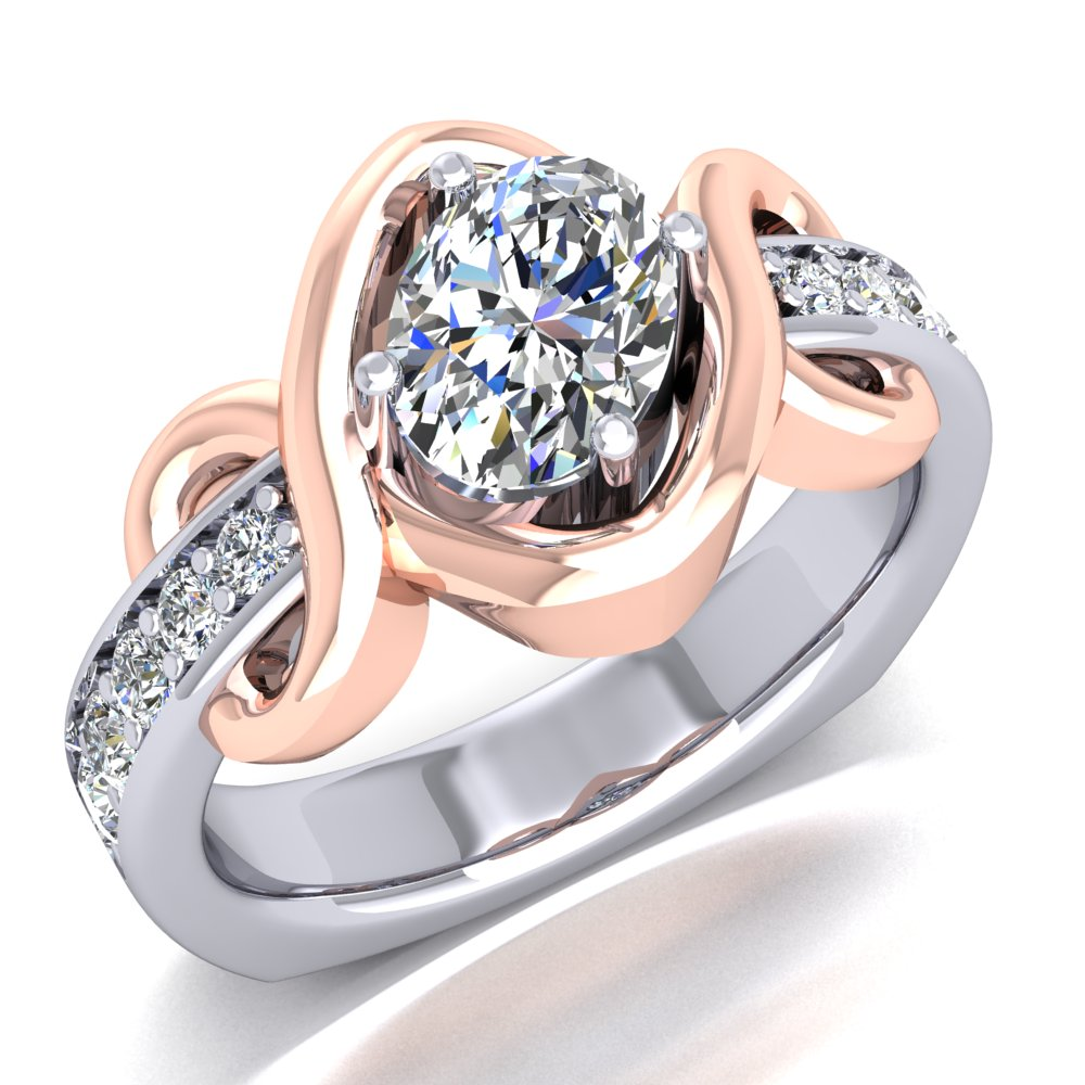 Rose and White Gold Ring Oval Diamond Offset Pave Accents.jpg