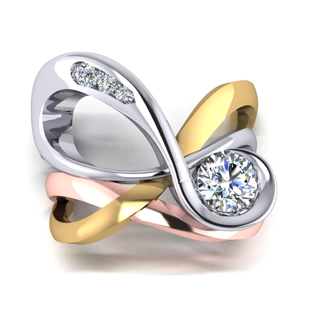 Infinity Engagement RIng Three Tone Round Diamonds Rose Gold Yellow Gold White Gold Engagement Ring.jpg