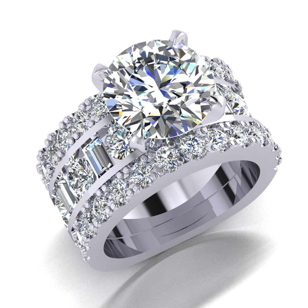 Wide Engagement Ring Pave 3ct Rund Baguette Round Diamond Channel Set.jpg
