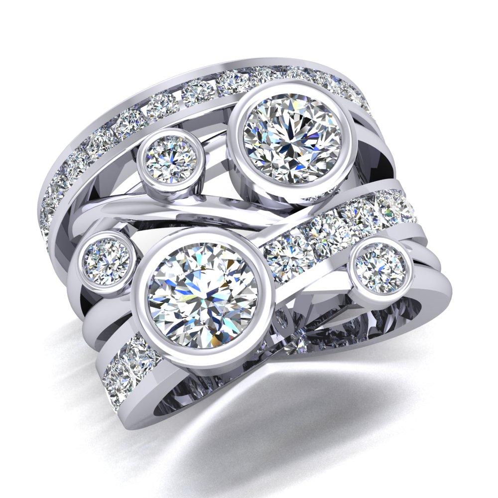 Bezel Cluster Ring Multi Diamond Channel Set Spaghetti Band Rubberband Ring Criss Cross Diamond.jpg