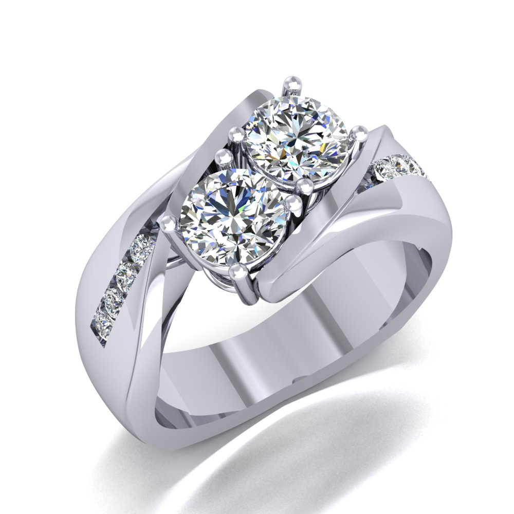 White Gold Two Diamond Right Hand Ring Channel Set Diamonds Prong Set Diamonds.jpg