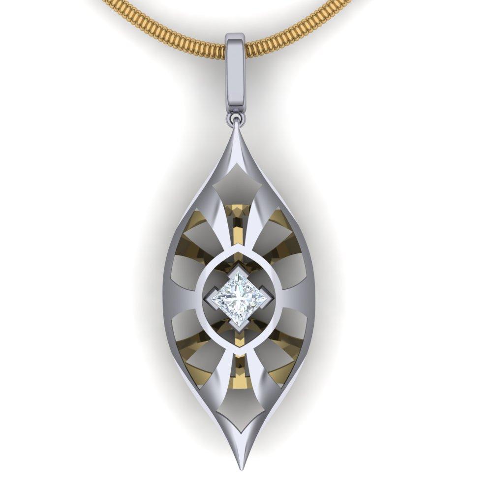 unique modern open work diamond pendant two tone.jpg
