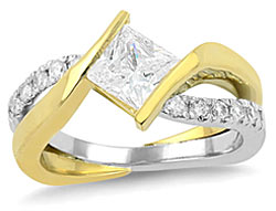 9. Our Striking engagement ring features a modern design and a twisting open work band.