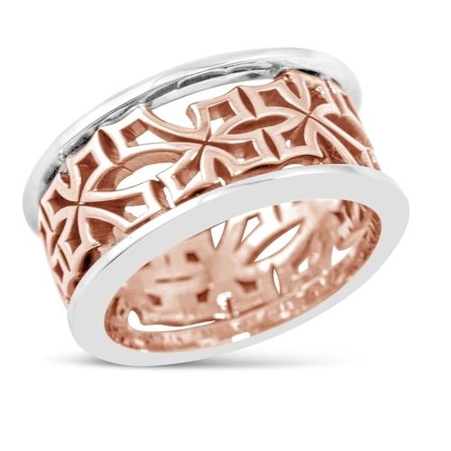 Men's Rose & White Gold Cross Cut Out Ring.jpg
