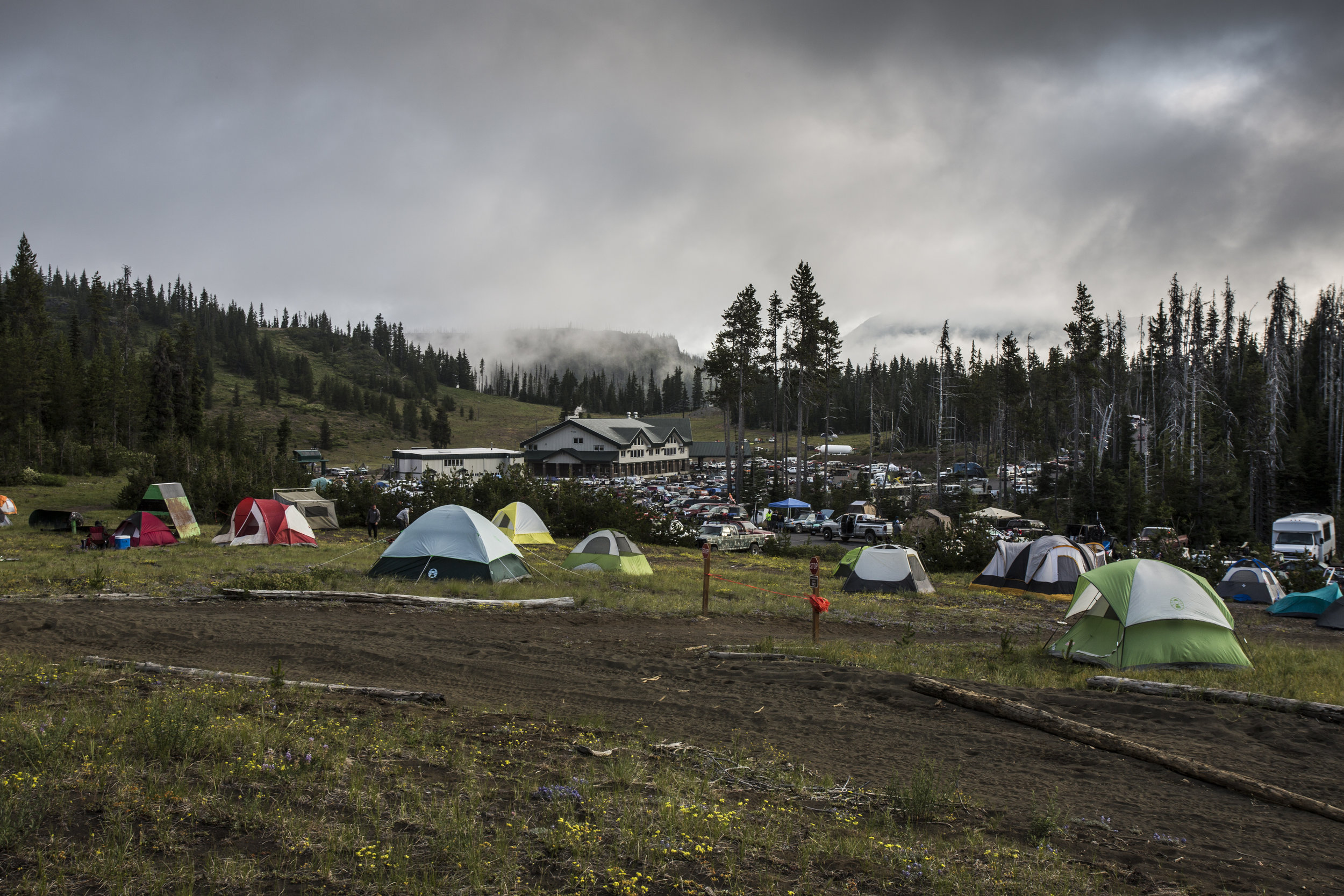 Camp the following morning, before everyone recovered from the events of the previous 24 hours