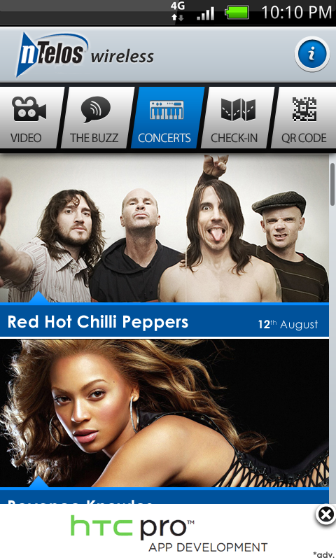 The Concerts Listing page where users can see all the upcoming concerts.