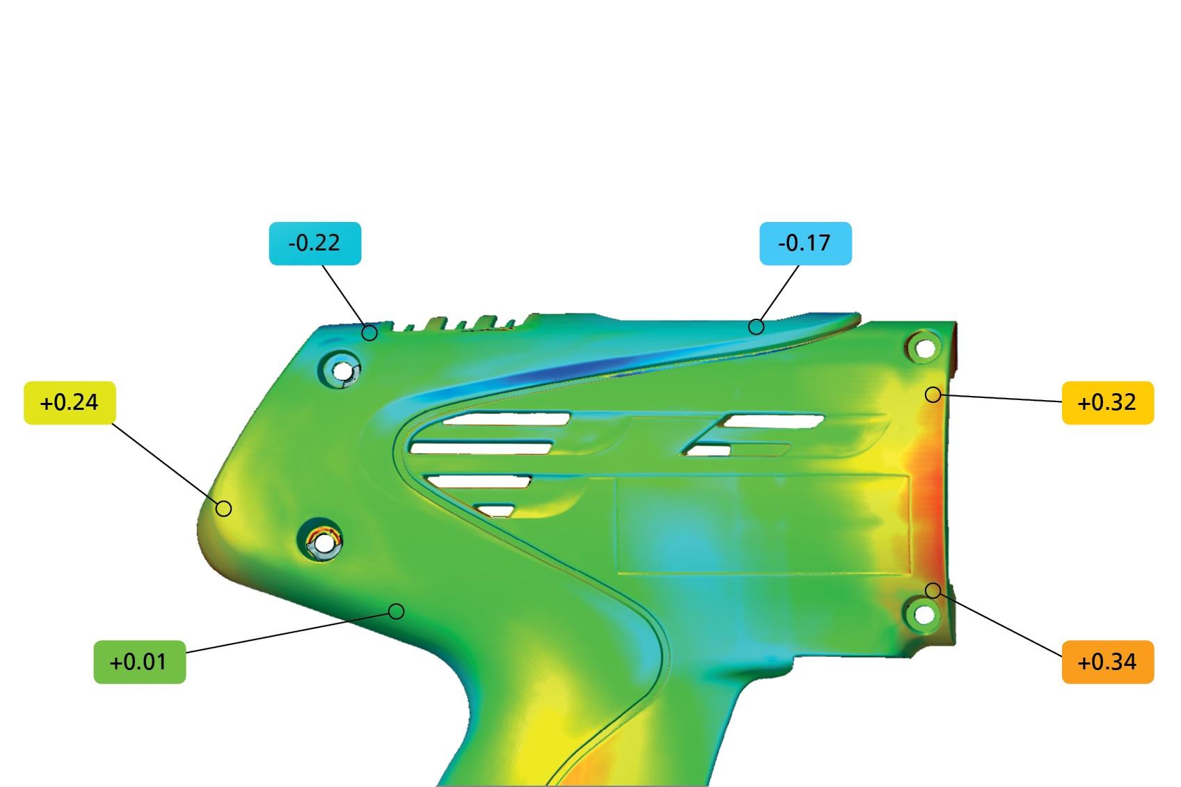 Evaluación - La malla puede verificarse comparando las superficies con dibujos técnicos o registros CAD. Puede implementarse un análisis 3D de las supeficies y un análisis 2D de las secciones transversales o puntos.