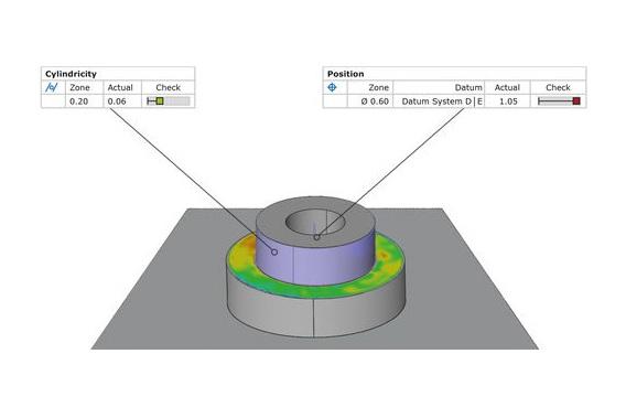 Comparación entre diseño y objeto real - Las mallas poligonales pueden verificarse comparando superficies con un dibujo técnico o directamente con un documento CAD.