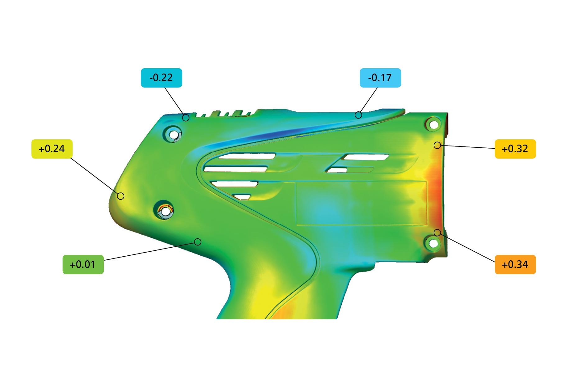 Análisis CD&T - El software cumple los estándares ASME e ISO y permite un análisis GD&T exhaustivo, incluyendo planitud, paralelismo y cilindricidad, distancias entre dos puntos, condiciones máximas de material, así como tolerancia de posición en sistemas de coordenadas locales y globales.