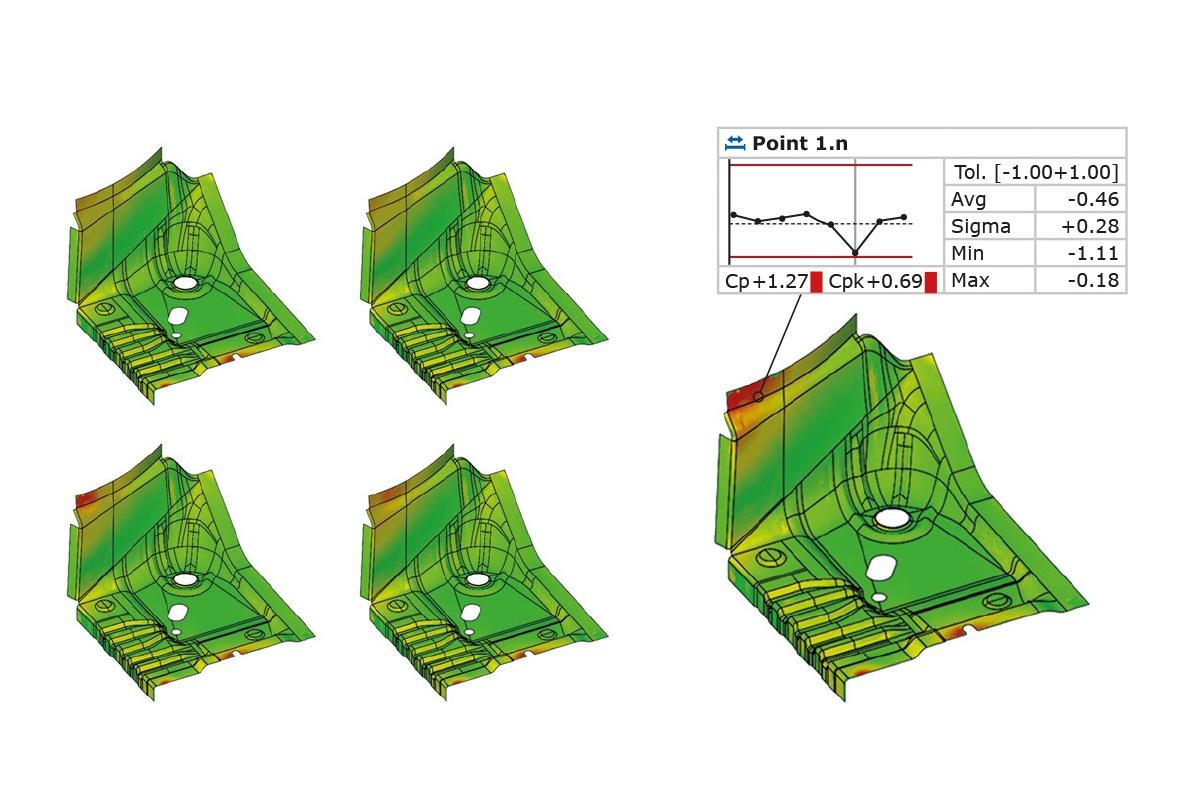 Análisis de tendencias, SPC y de deformaciones - GOM Inspect permite el análisis de tendencias para evaluaciones múltiples como en el control estadístico de procesos (SPC) o para el análisis de deformaciones.