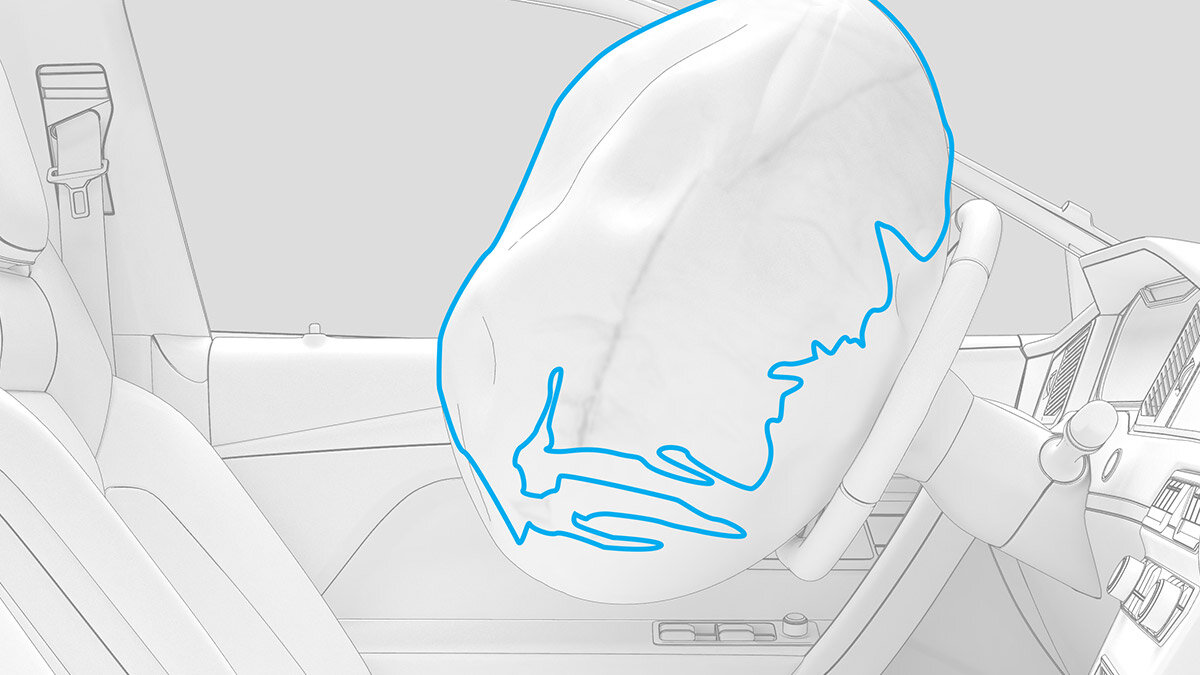 Detección de contorno - La nueva función de detección de contorno permite el análisis de las pruebas de despliegue del airbag. La nueva herramienta de software rastrea el contorno del airbag en cualquier grabación de video de alta velocidad y ayuda a identificar el punto de deflexión máximo en el sistema de coordenadas local del volante.