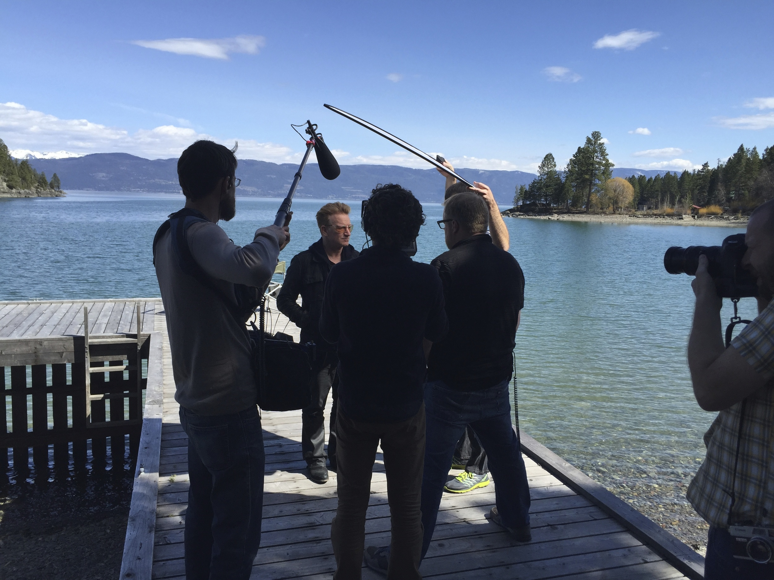 """hey, let's grab an interview with Bono."" Um,. ok! Very quick setup on the shore of Flathead Lake, MT."