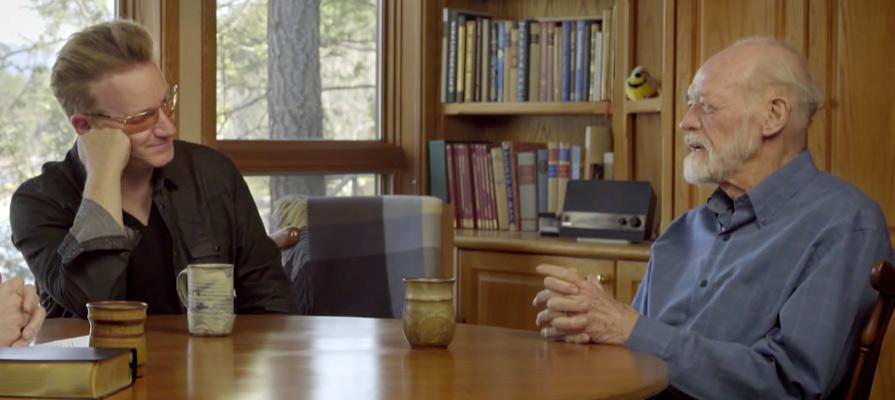Bono and Eugene at Eugene's home on Flathead Lake, MT. Frame courtesy Fuller Studios.