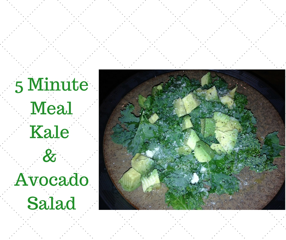 Ingredients   2 Cups Chopped Kale  1/2 Avocado - Diced  Juice of 1.4 of a Large Orange  1 Tbsp of Olive Oil  1 Tsp. Parmesan Cheese (omit for dairy-free option)  Salt and Pepper To Taste   Directions   Put all ingredients in a bowl, stir and enjoy!!