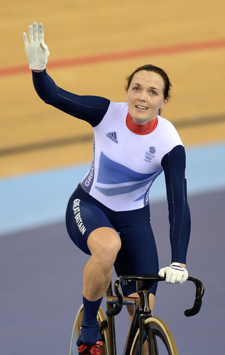 Victoria Pendleton acknowledges the crowds during the London 2012 Olympic Games women's sprint final cycling event at the Velodrome in the Olympic Park in East London, on August 7, 2012.