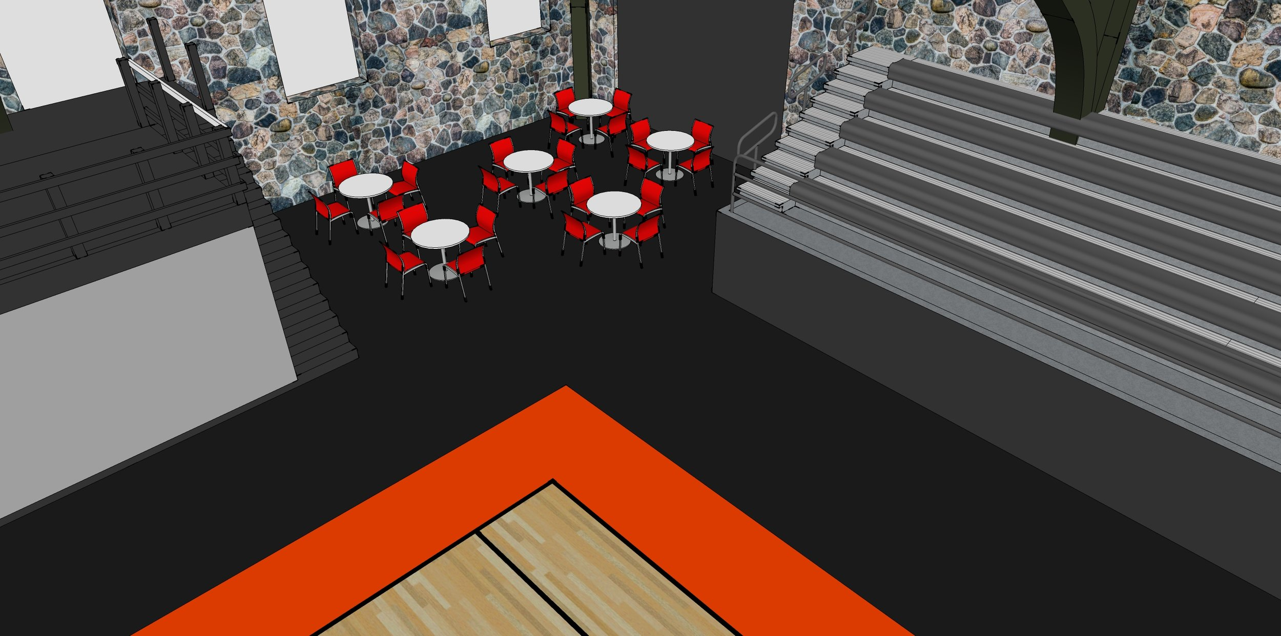 A view of the cafe seating area. The cafe will be a staple for after school hours and community events.