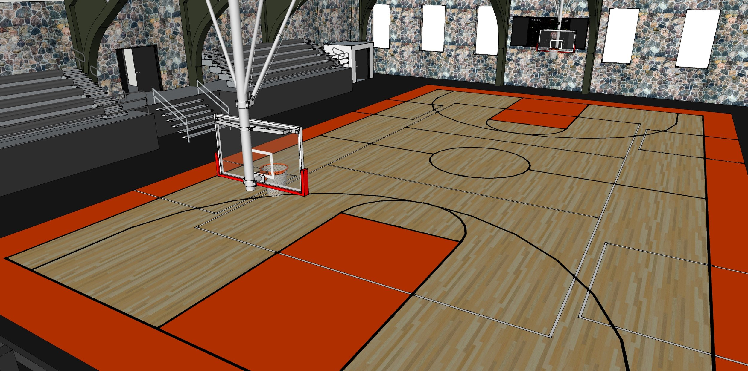 In addition to the new multi-sport court, we plan to add hydraulic basketball hoops, scoreboard, bleachers, and netting on each end.