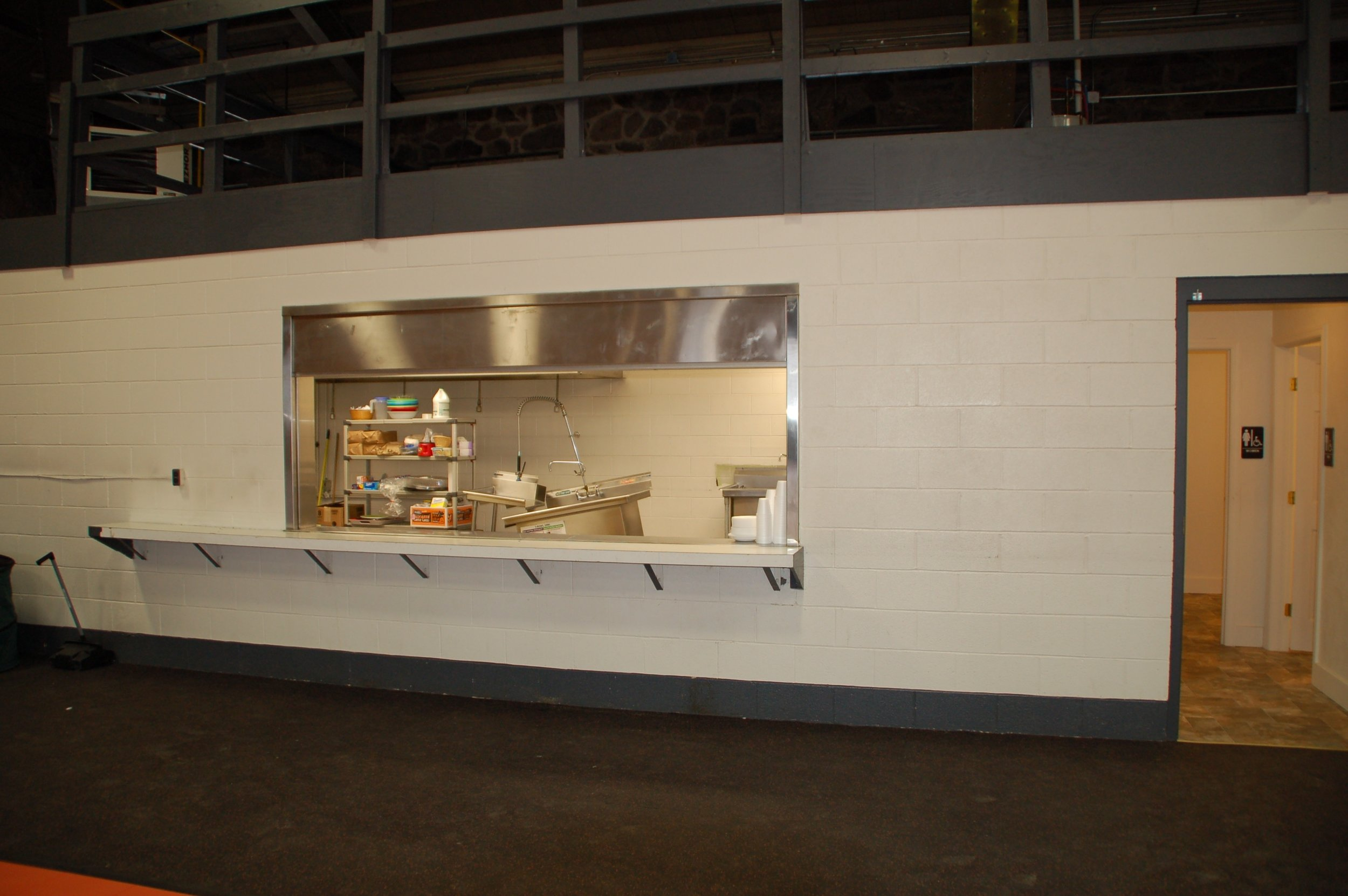A view from the outside of the kitchen.