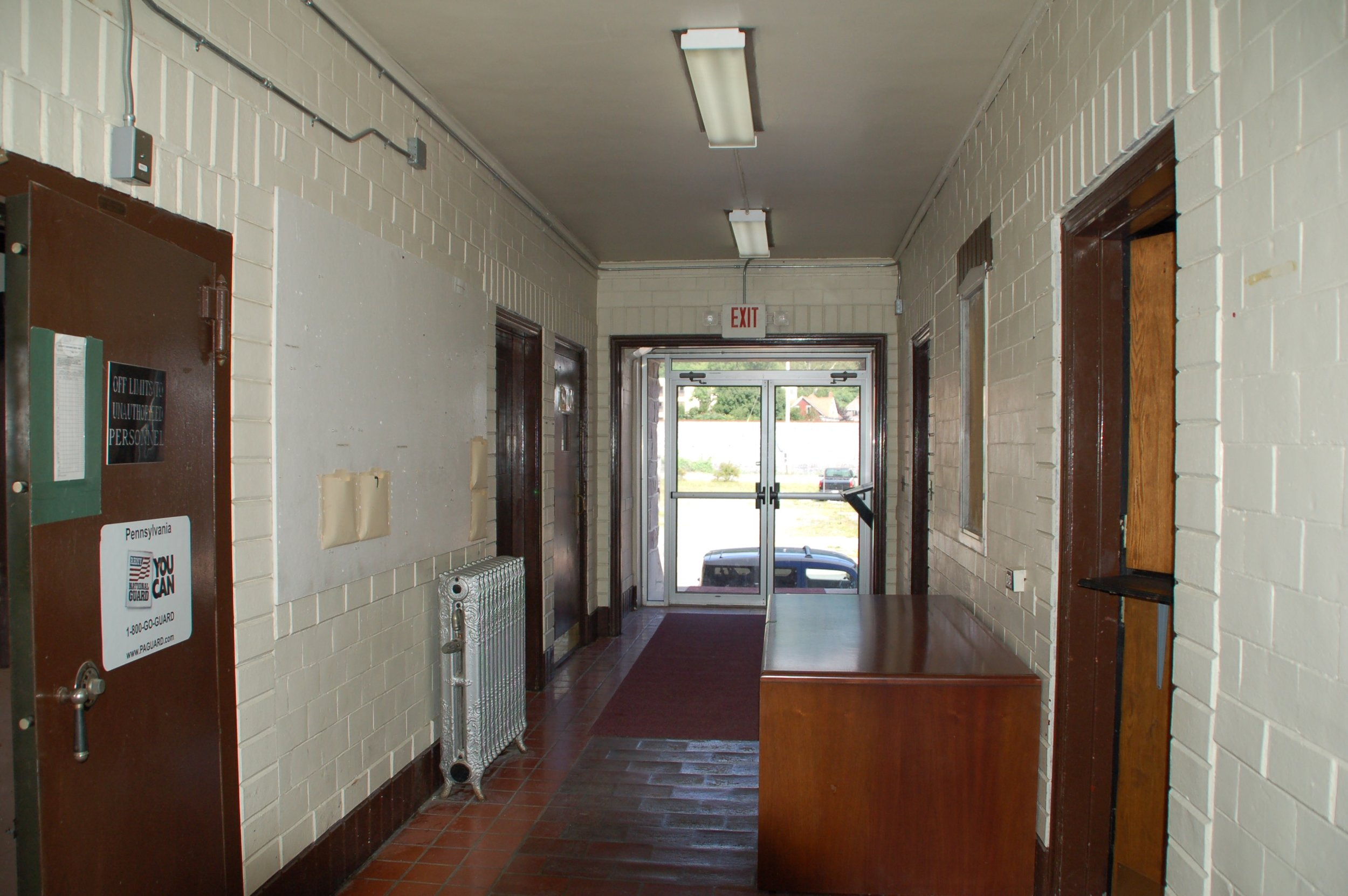 1st floor hallway in the office section of the armory.