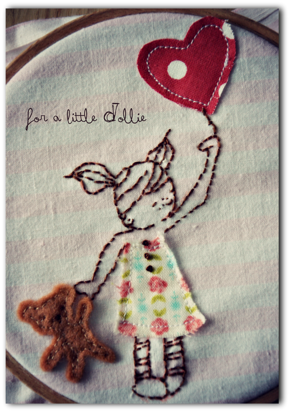 Embroidery and Appliqué on vintage fabrics
