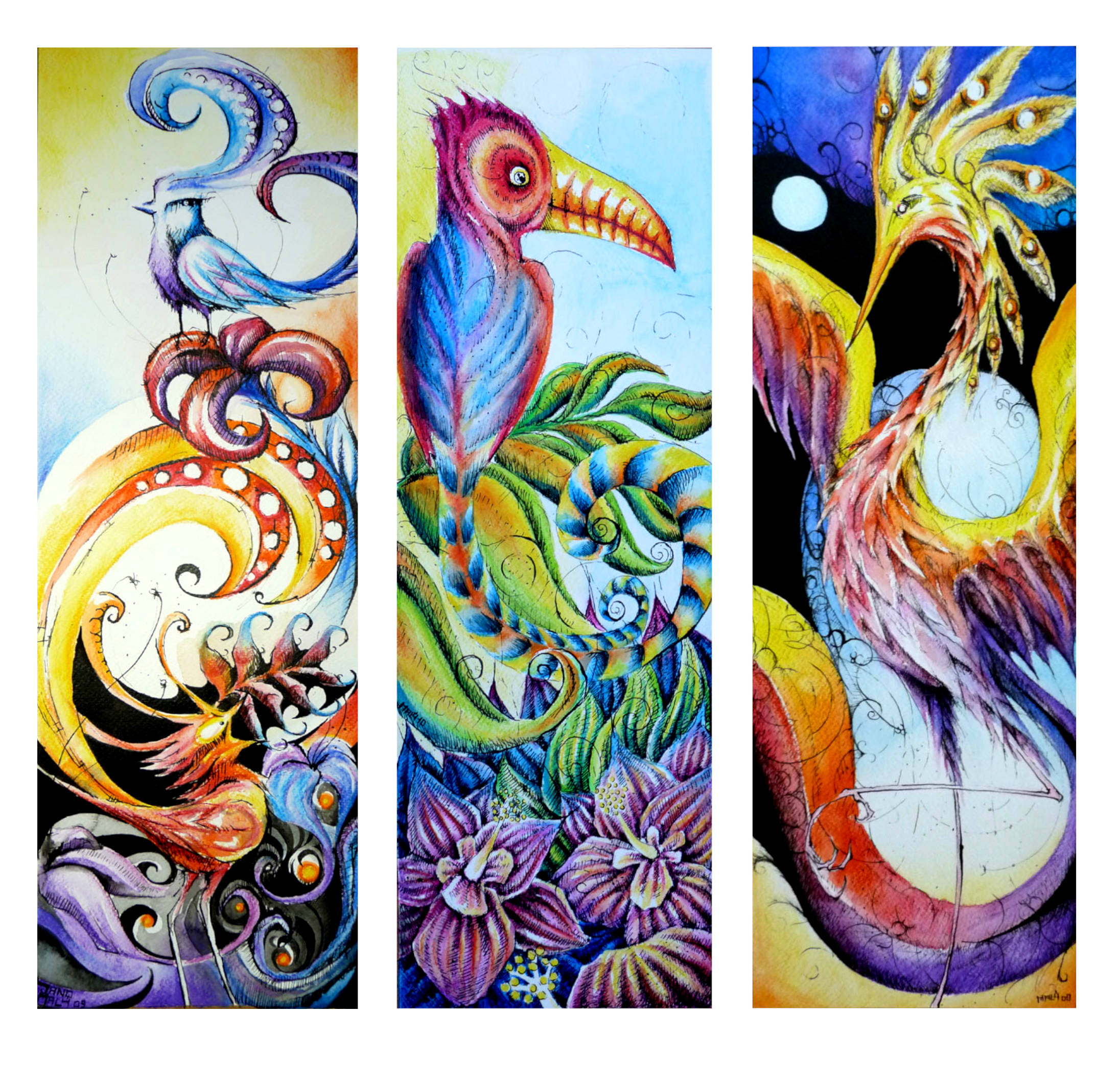 """""""Birds"""" series from 2019. From left: Red &blue, Green & purple, Blue and yellow. Ink & watercolour pencils, size 20 x 60cm on paper."""