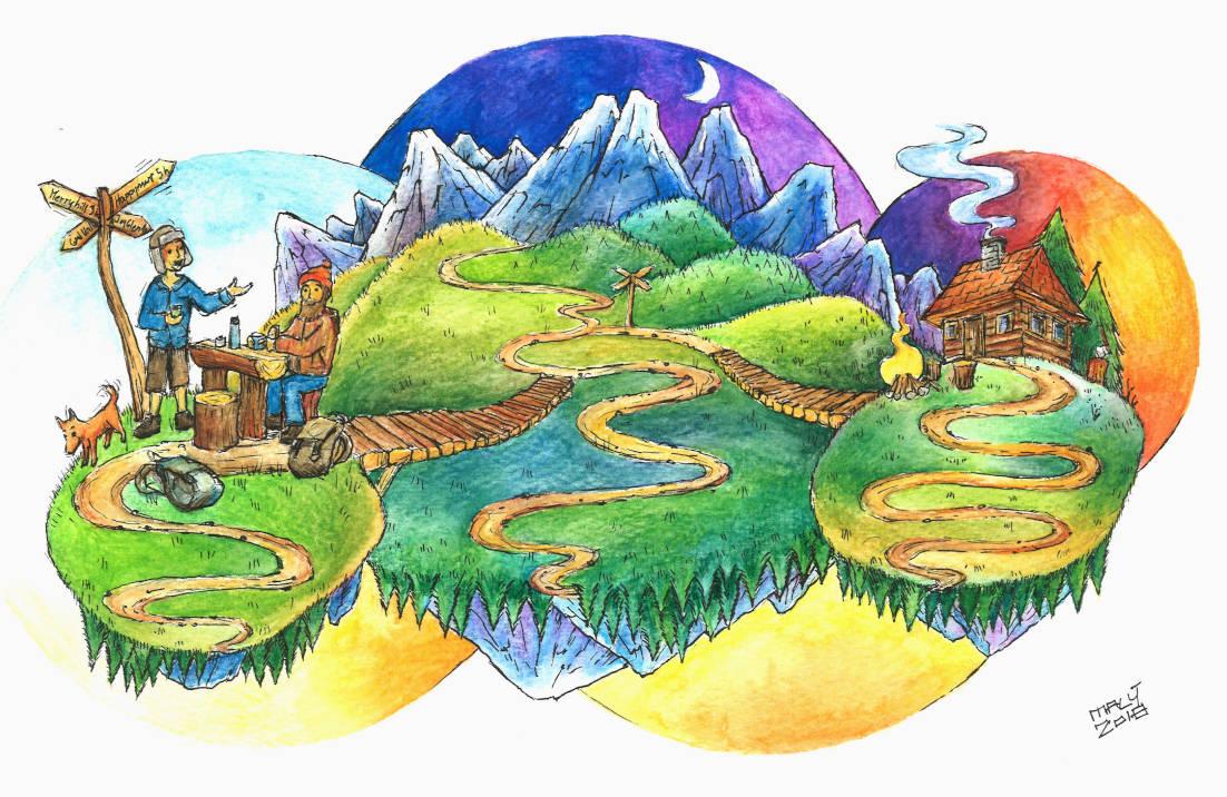 """Under the hills"",2018, pen & watercolour pencils on paper, A4"