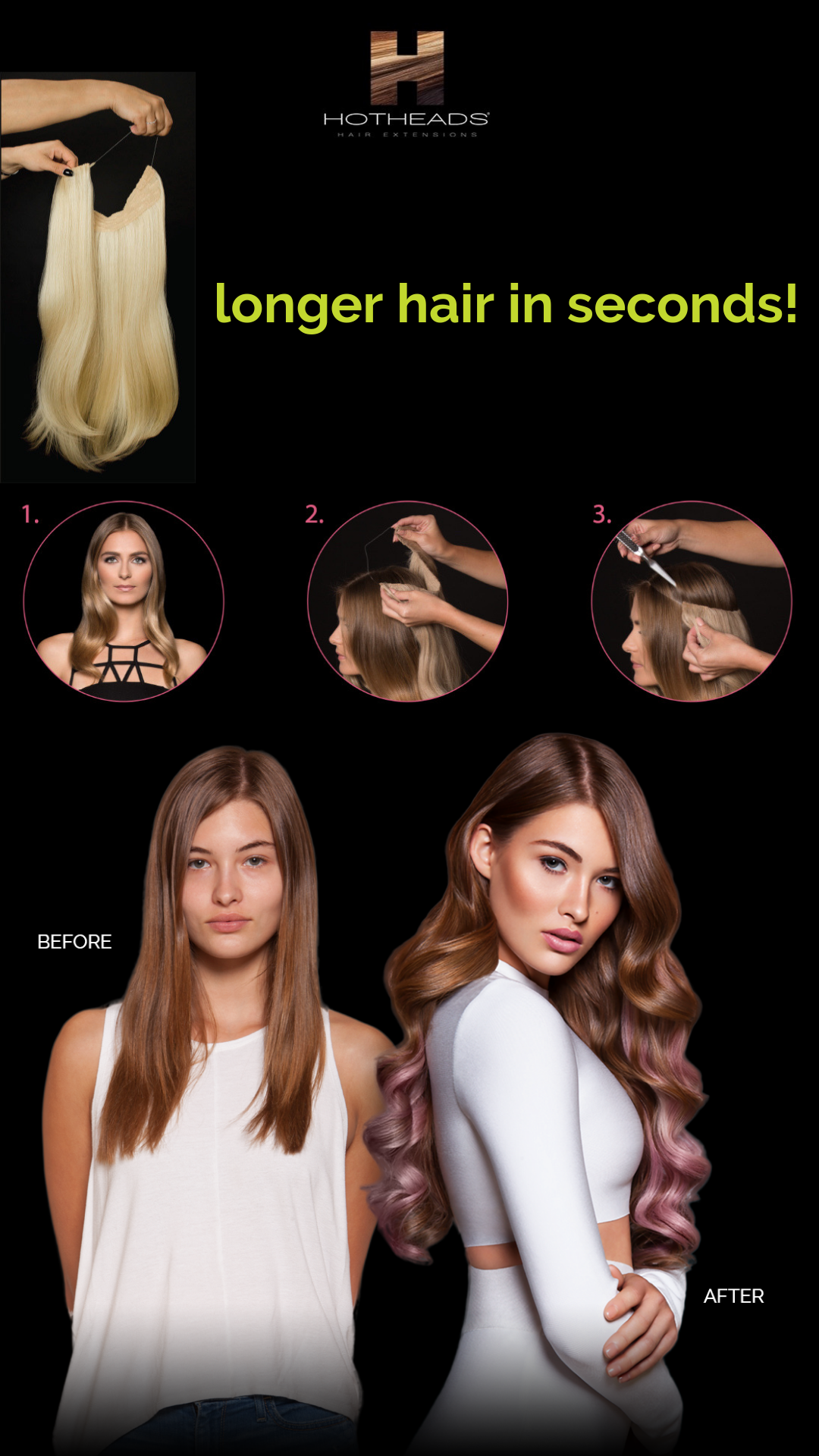 hot heads hair extensions, the band, headband extensions, longer hair, thicker hair, maple grove, minnesota, minneapolis, plymouth, best salon