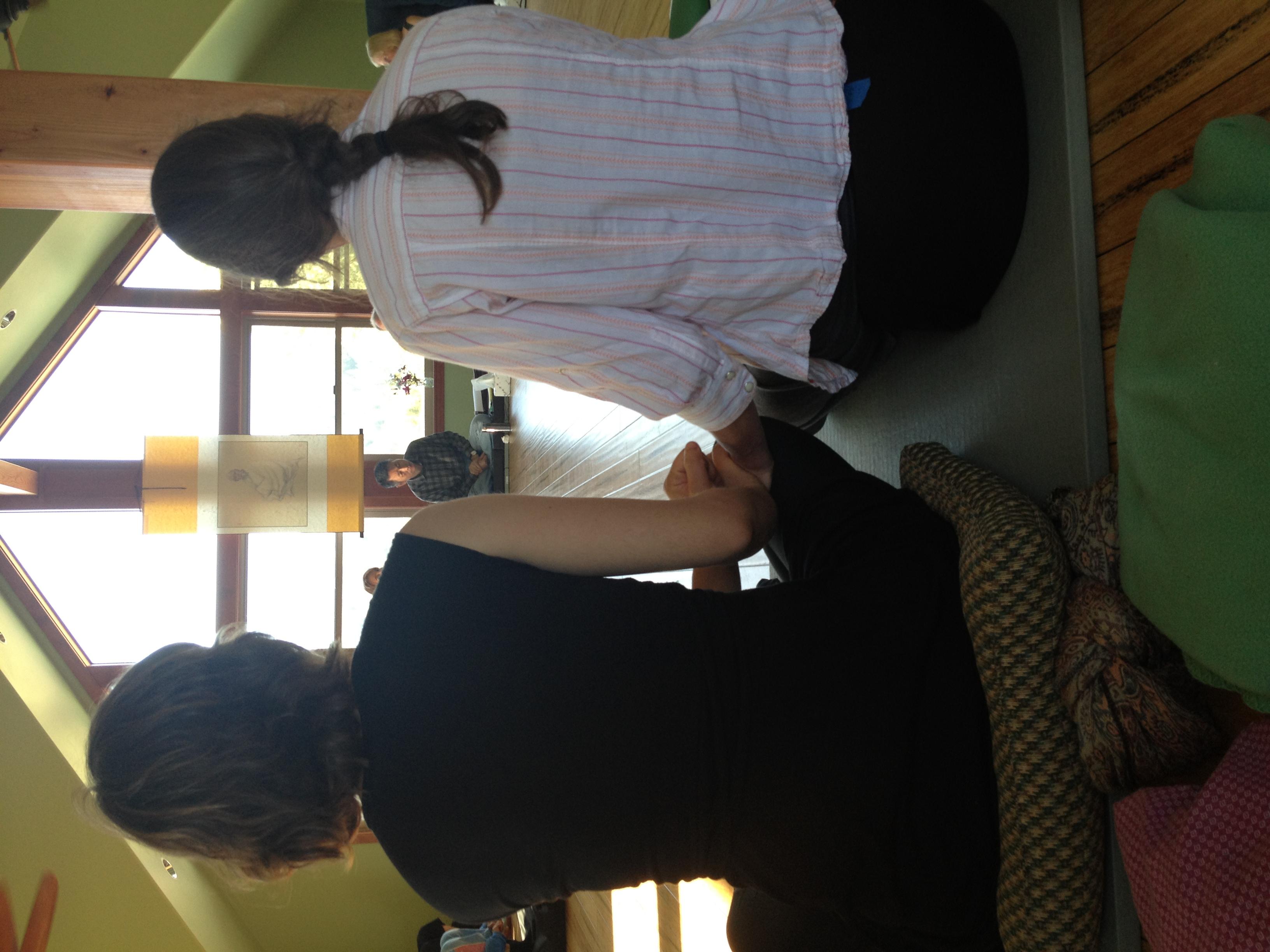 Facing Liu Lihong and an image of Wang Fengyi during the Shanrendao 2012 retreat.
