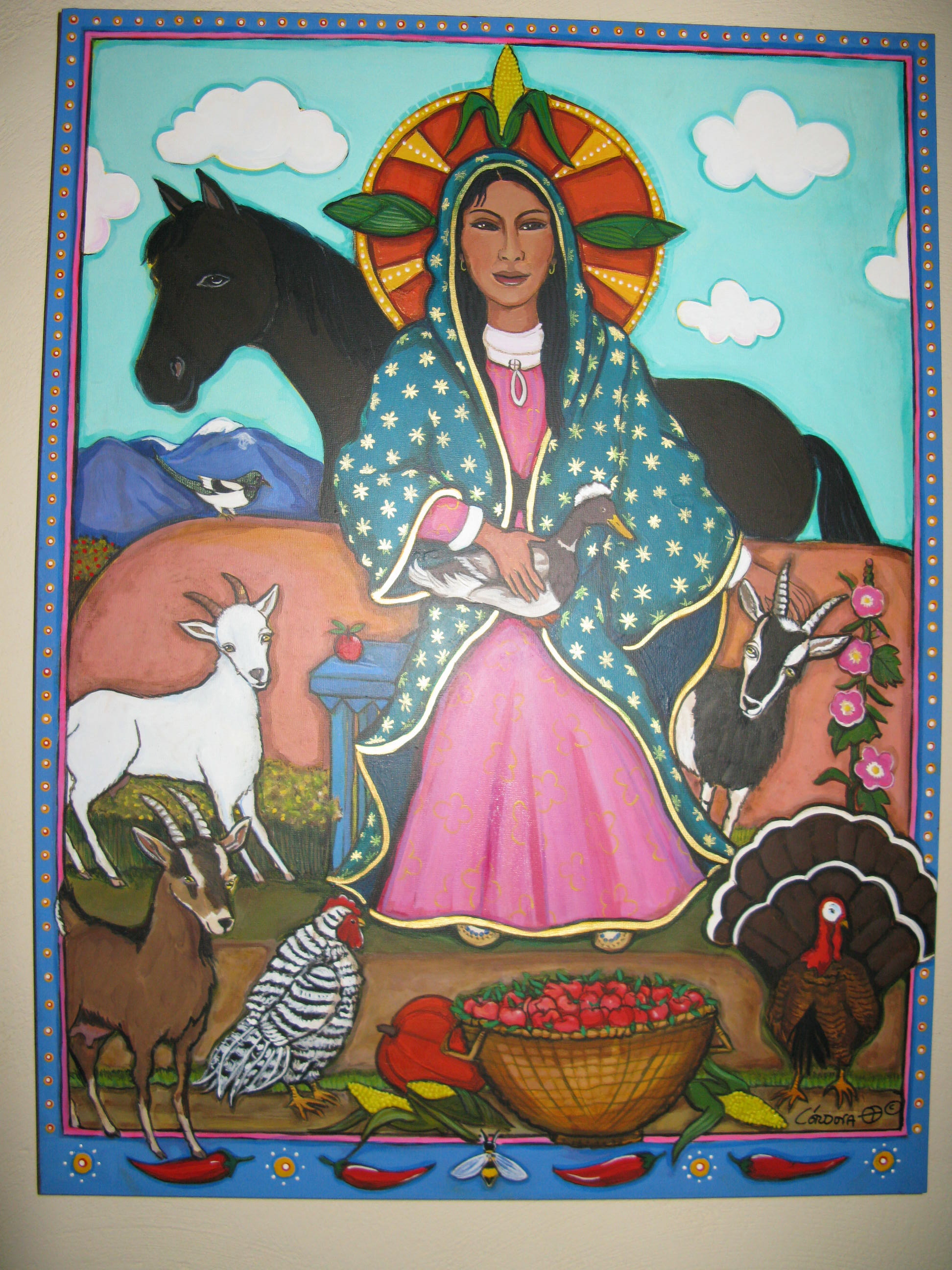 Painting of the Virgen de Guadalupe in my orchard in Talpa, NM, by Amy Cordova.