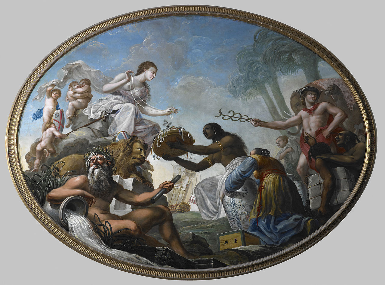 """""""The East offering its riches to Britannia"""", painted by Roma Spiridone for the boardroom of the British East Asia Company."""