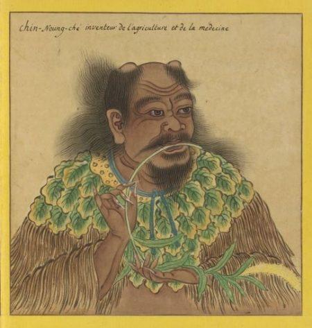 神農氏像,出《Portraits de Chinois celebres》(歷代帝王聖賢名臣大儒遺像),18世紀繪製,法國國家圖書館藏。(公有領域)