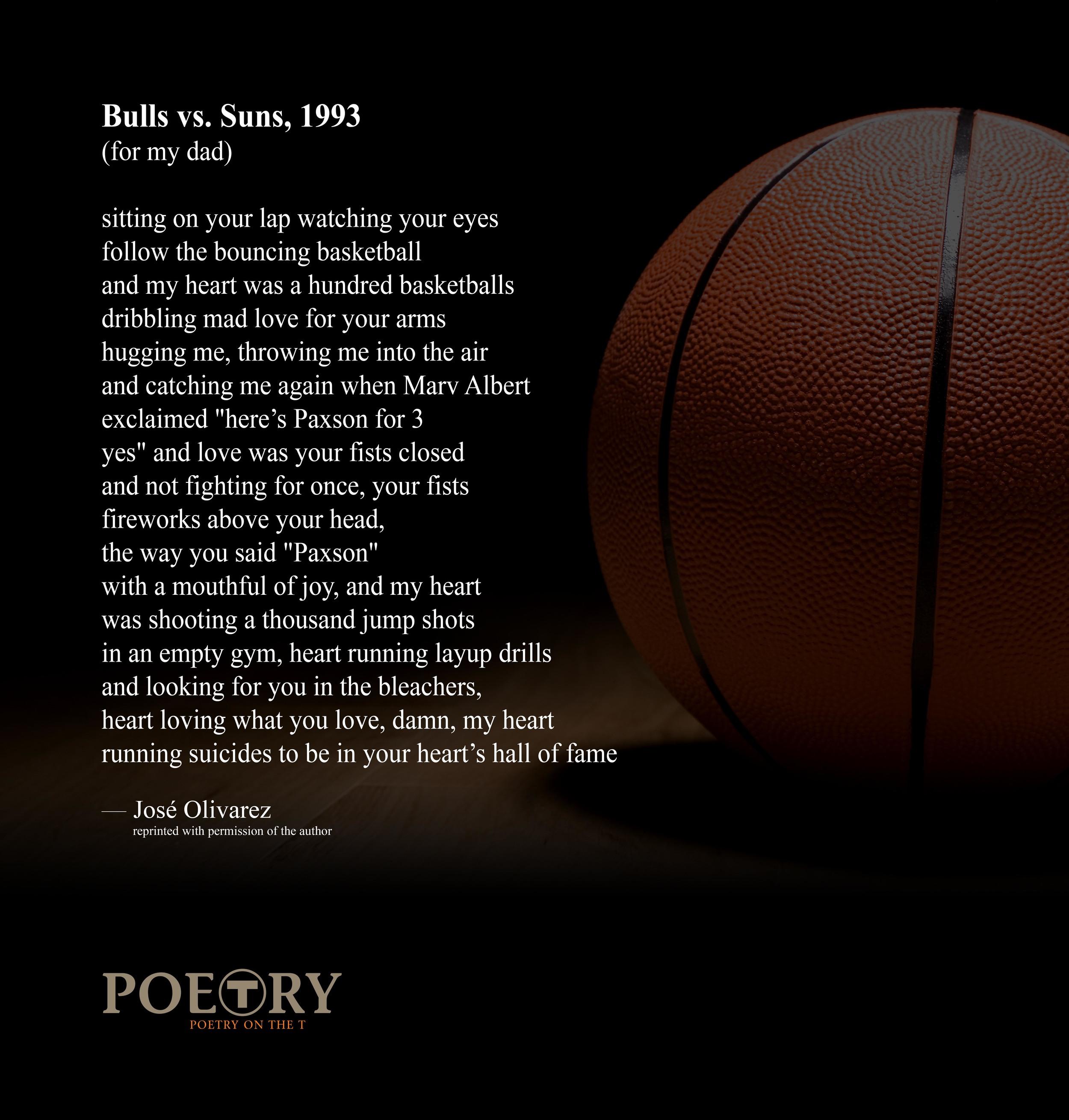 """José Olivarez, """"Bulls vs. Suns, 1993″"""