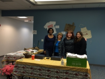 Headquarters of the 2014 Massachusetts Poetry Festival, featuring Festival ED January O'Neil, volunteer extraordinaire Lis Weiss Horowitz, and SSU interns Kayla Russell and Felicia Connolly