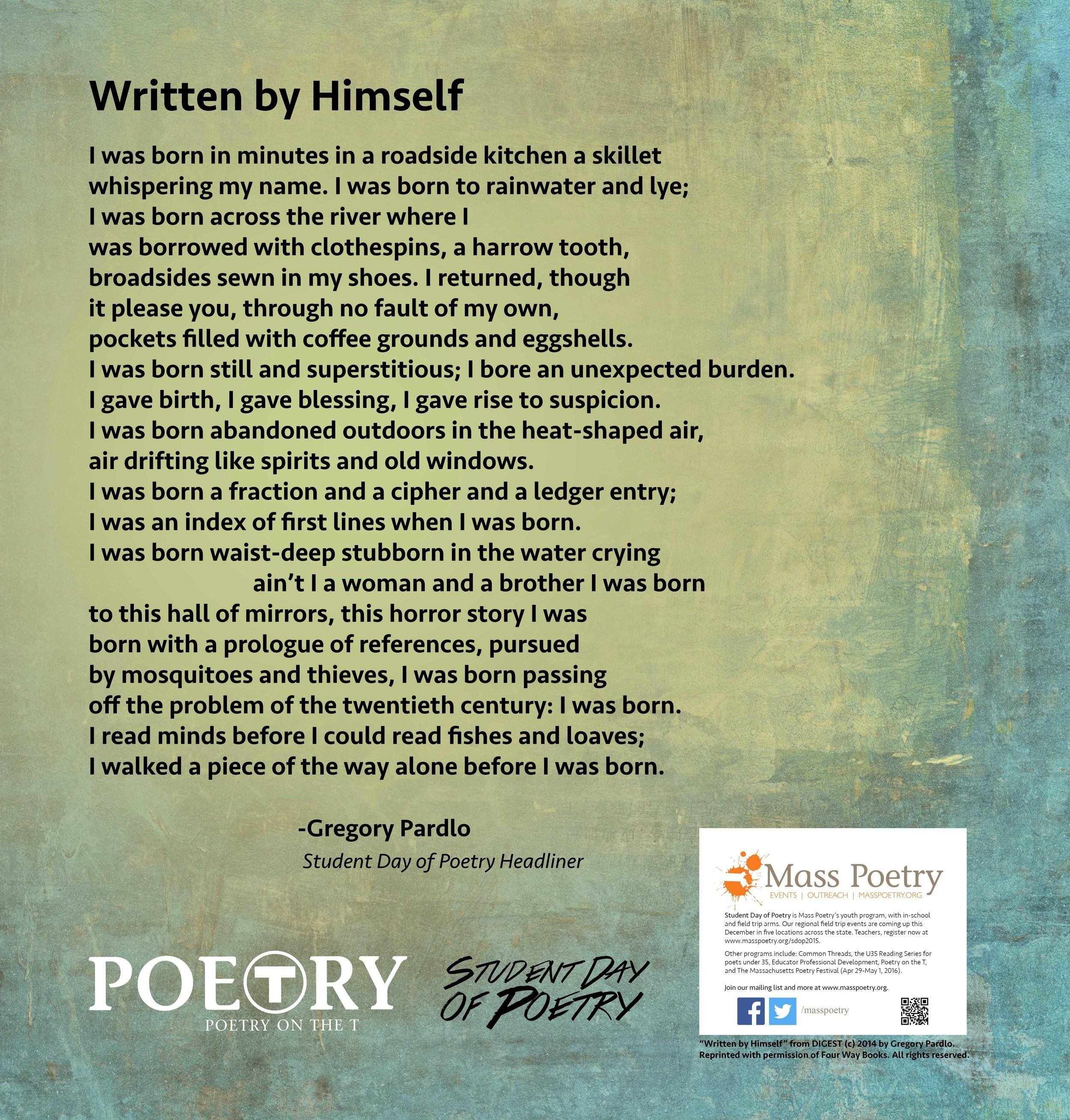 """Gregory Pardlo, """"Written by Himself"""""""
