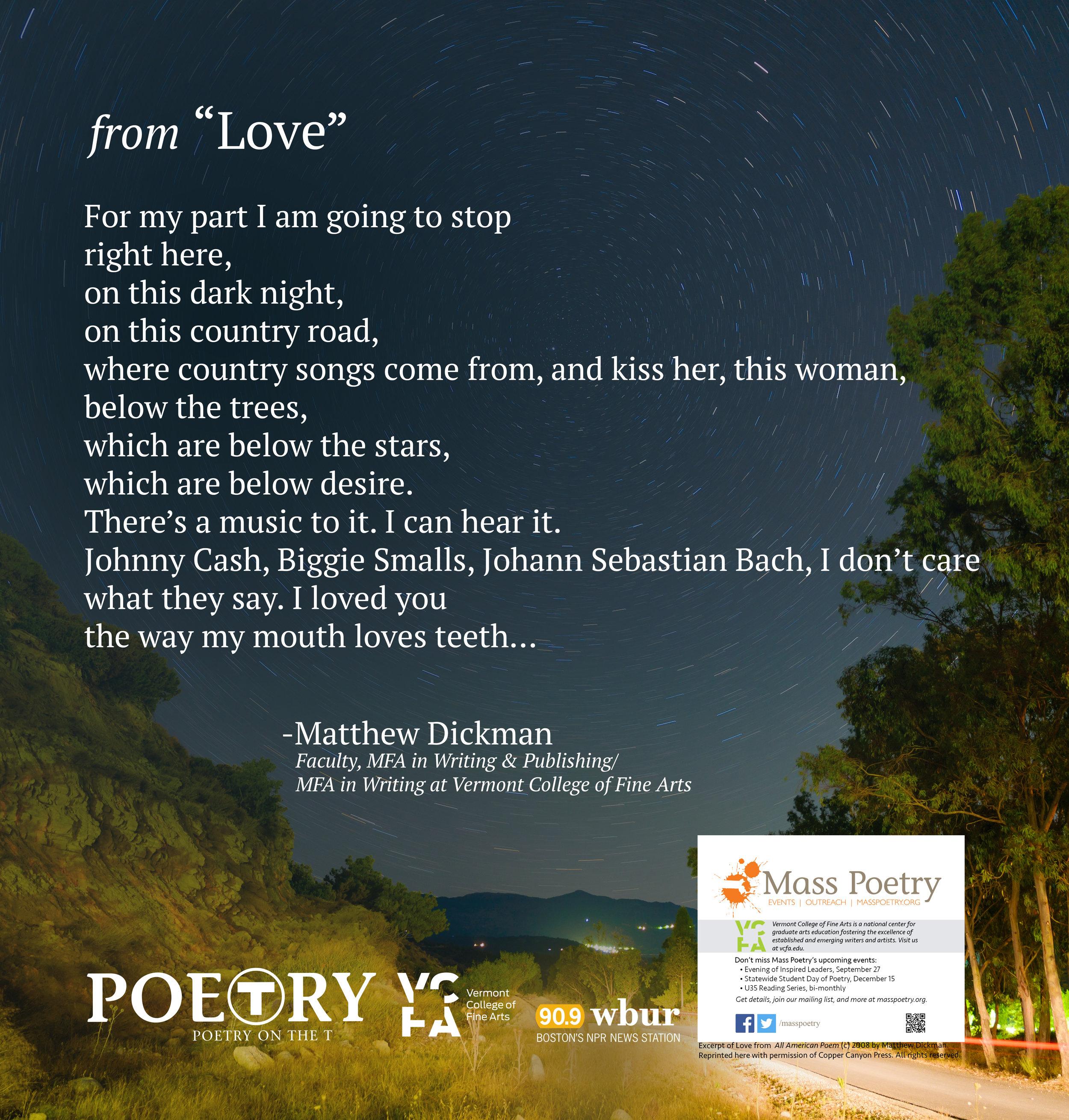 "Matthew Dickman, From ""Love"""
